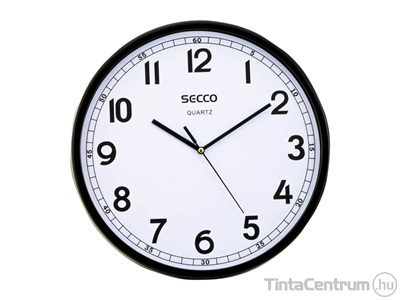 "Falióra, 29,5cm, fekete keretes, SECCO ""Sweep second"""