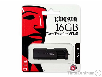 "KINGSTON pendrive, 16GB, USB 2.0, ""DT 104"", fekete"