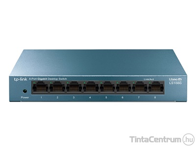 "TP-LINK ""LS108G"" asztali switch, fémházas, Gigabit, 8 port"