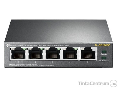 "TP-LINK ""TL-SF1005P"" asztali switch, fémházas, PoE, 5 port"